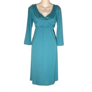 Ann Taylor Loft Knit Long Sleeve Dress Blue Sz 14